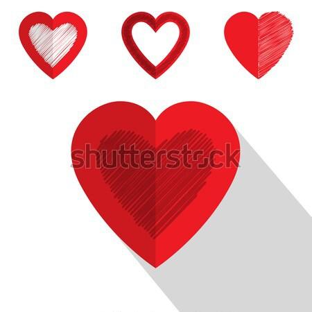 Stock photo: Valentine day heart icon flat design