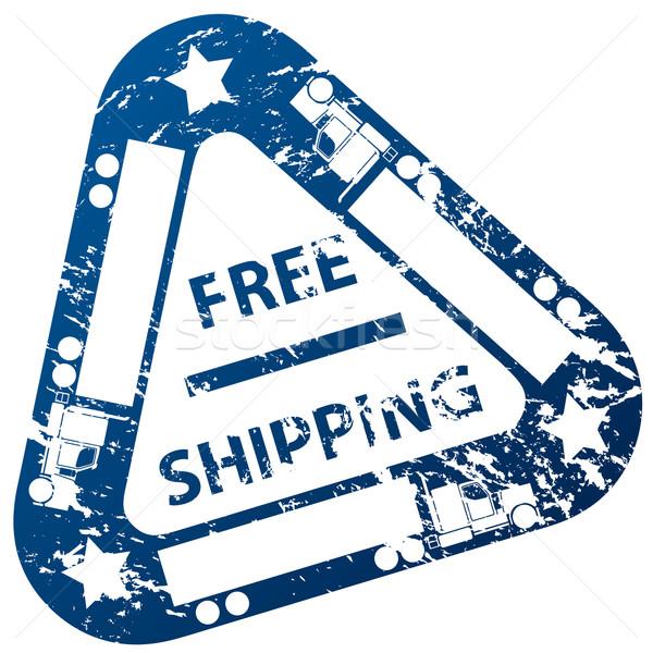 Gratis verzending stempel ontwerp vrachtwagen teken print Stockfoto © vipervxw