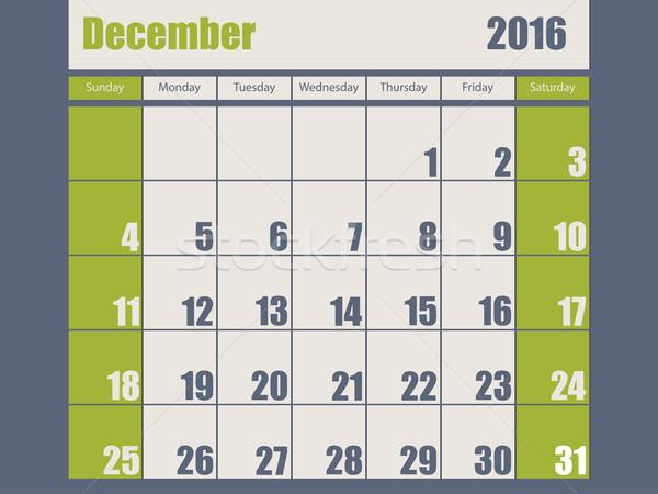 Azul verde 2016 dezembro calendário Foto stock © vipervxw