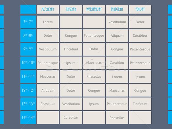 Blue timetable template flat style  Stock photo © vipervxw