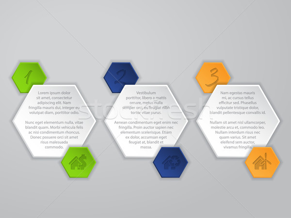Hexagon infographic with icons and description Stock photo © vipervxw