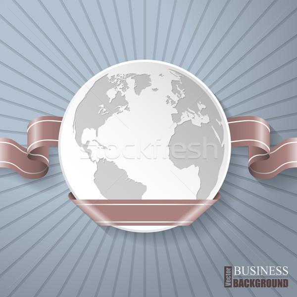 Abstract brochure with globe and brown ribbon Stock photo © vipervxw