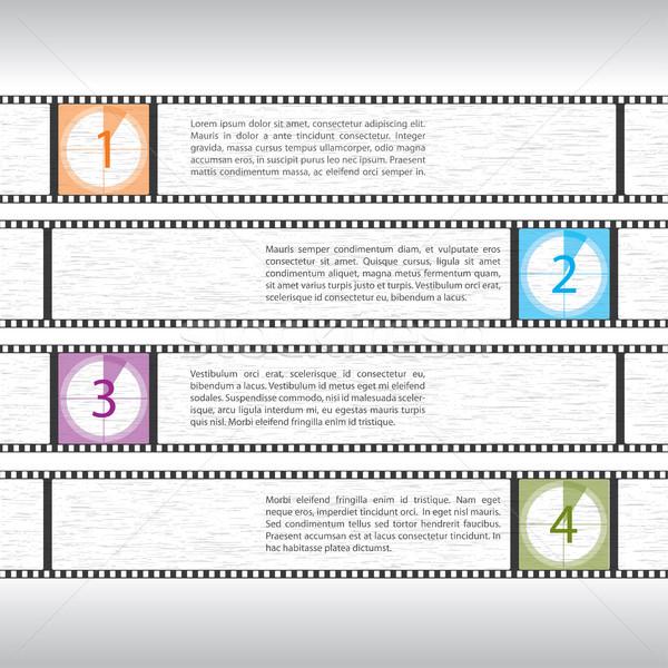 Film visszaszámlálás infografika terv filmszalag szöveg Stock fotó © vipervxw
