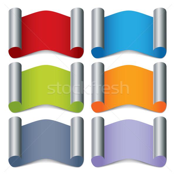 Doblado color etiqueta establecer Internet Foto stock © vipervxw