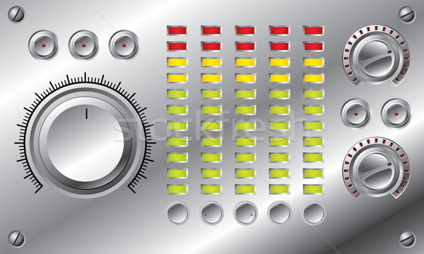 Hifi szett hangszínszabályozó terv fényes gombok Stock fotó © vipervxw