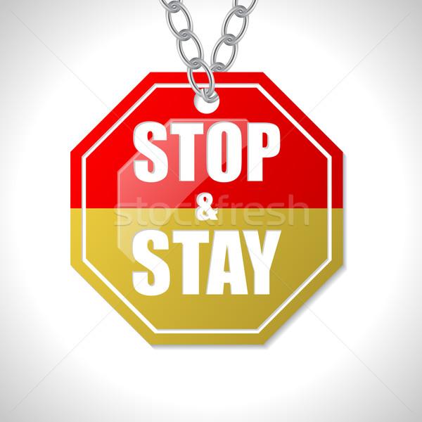 Stop tartózkodás közlekedési tábla fehér piros lánc Stock fotó © vipervxw