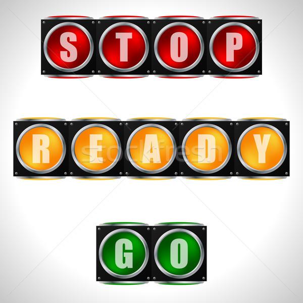 Trafik ışıkları talimatlar uyarı işaretleri yol dizayn Stok fotoğraf © vipervxw