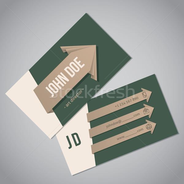 зеленый визитной карточкой стрелка шаблон дизайна Сток-фото © vipervxw