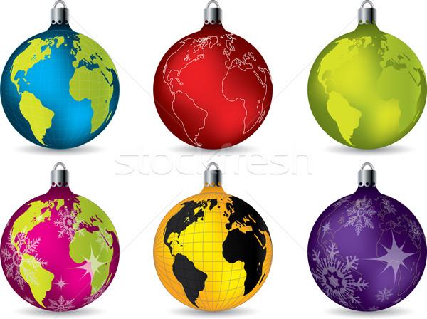 Błyszczący christmas dekoracje mapie świata płatki śniegu Zdjęcia stock © vipervxw