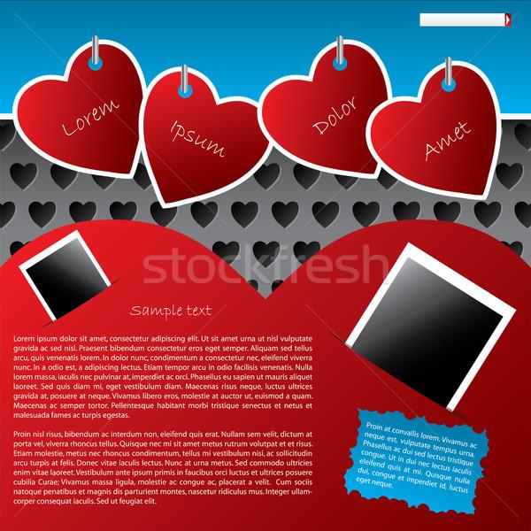 Сток-фото: сайт · шаблон · дизайна · подвесной · сердце · Этикетки