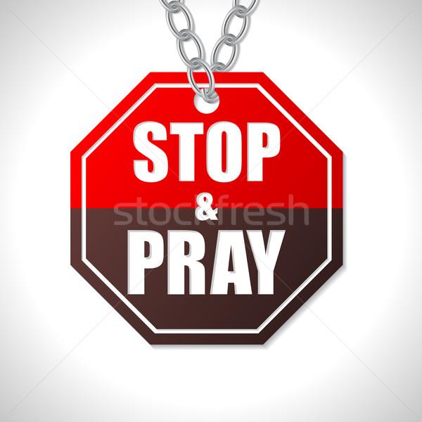 Stop modlić znak drogowy biały ulicy czerwony Zdjęcia stock © vipervxw