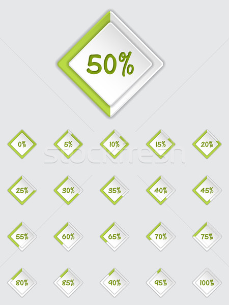 Cool 3d loader icon set in green Stock photo © vipervxw