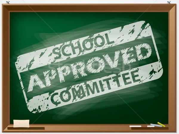 Reusachtig zegel schoolbord beslissing teken Stockfoto © vipervxw