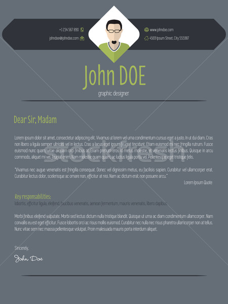 Cool dark cover letter resume cv template Stock photo © vipervxw
