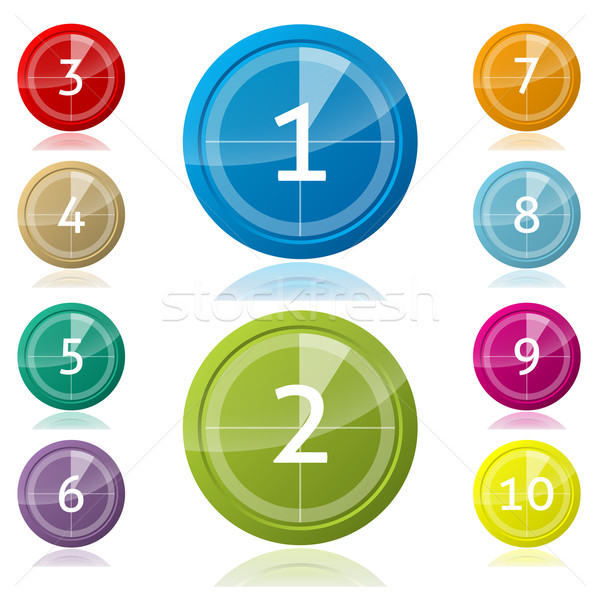 Shiny 3d buttons with countdown Stock photo © vipervxw