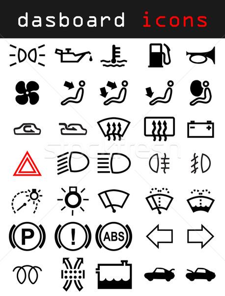Tablica rozdzielcza ikona znaki symbolika biały samochodu Zdjęcia stock © vipervxw