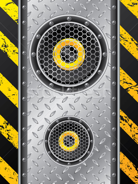 Ondergrondse spreker ontwerp ingesteld metalen plaat Stockfoto © vipervxw