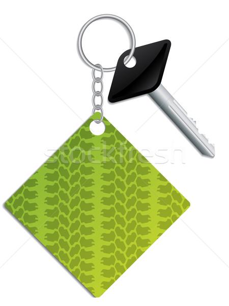 Kluczowych zielone opon tle bezpieczeństwa łańcucha Zdjęcia stock © vipervxw