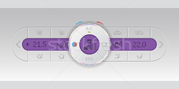 Digital air condition white dashboard design with purple lcd Stock photo © vipervxw