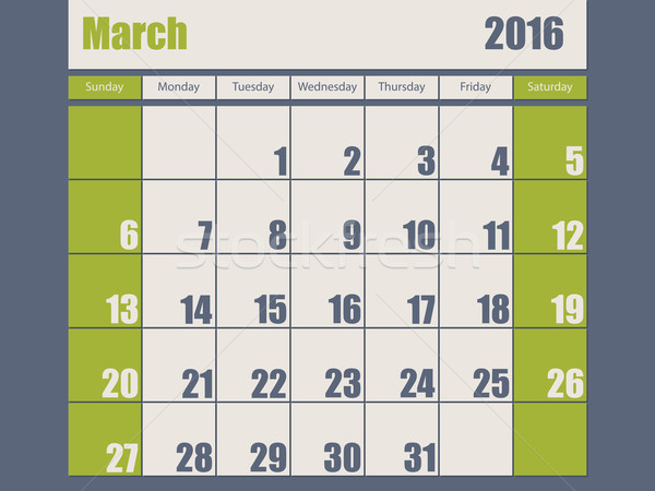 Blue green colored 2016 march calendar Stock photo © vipervxw