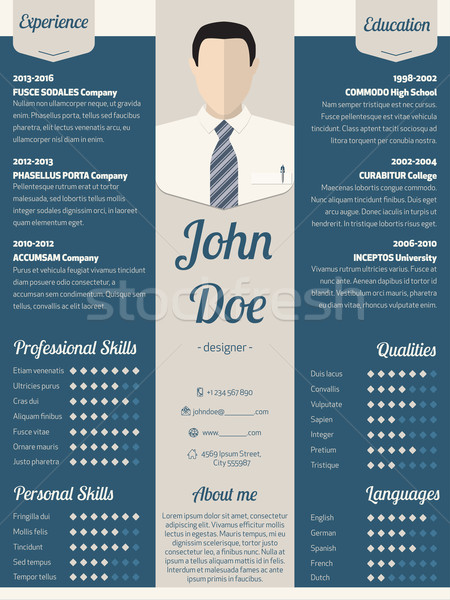 modern resume cv template in blue vector illustration mihaly pal
