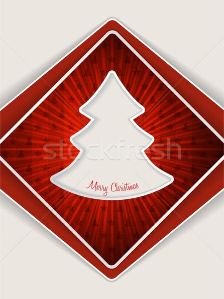 Czerwony christmas powitanie choinka kartkę z życzeniami projektu Zdjęcia stock © vipervxw