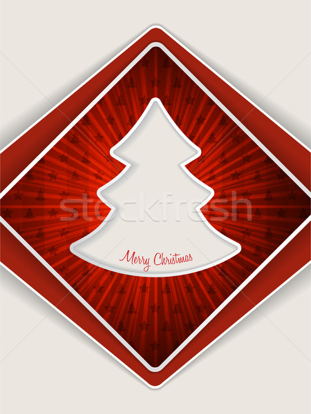 Red christmas greeting with bursting christmas tree Stock photo © vipervxw