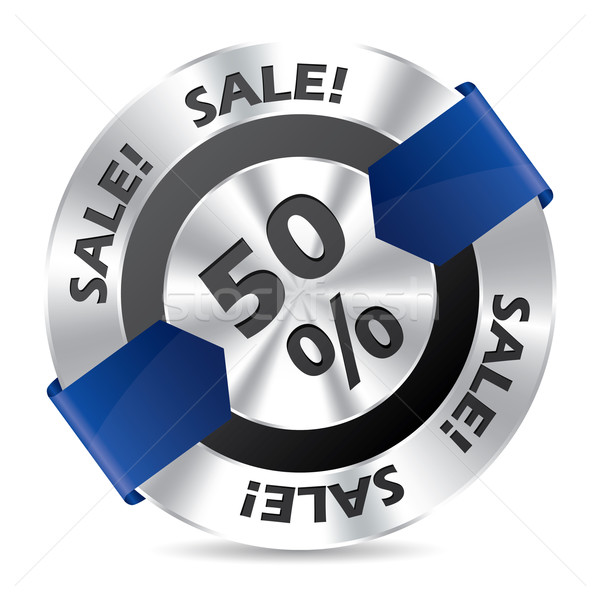 50% sale badge with blue arrow ribbon Stock photo © vipervxw