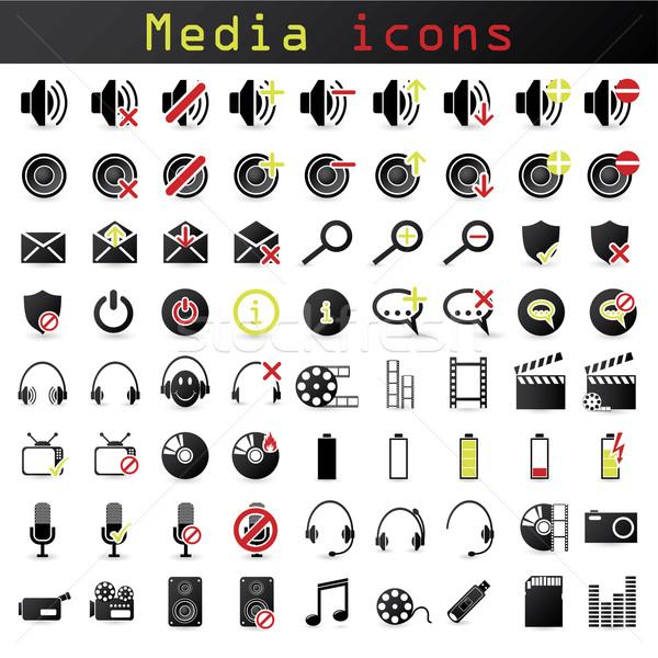 Black and color media icon set Stock photo © vipervxw