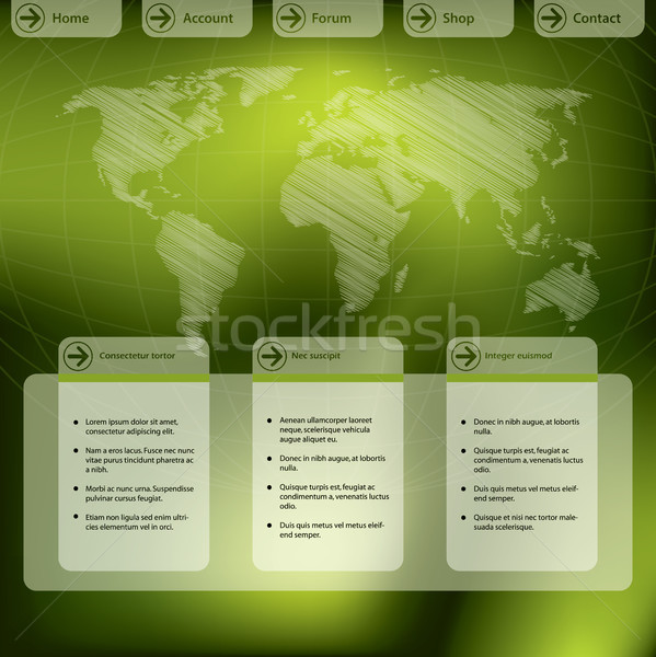 Website template design in green Stock photo © vipervxw