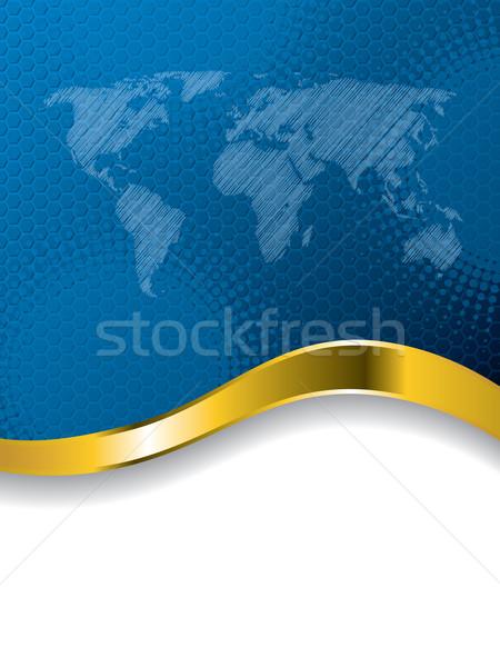 Stok fotoğraf: Mavi · iş · broşür · dizayn · dünya · haritası · yarım · ton