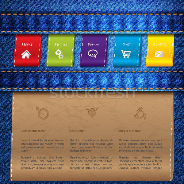 Website template design with jeans and tags Stock photo © vipervxw