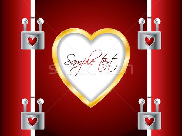 заблокированный Валентин дизайна сердце Сток-фото © vipervxw