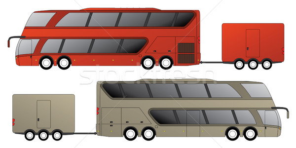 Double decker bus with attached trailer  Stock photo © vipervxw