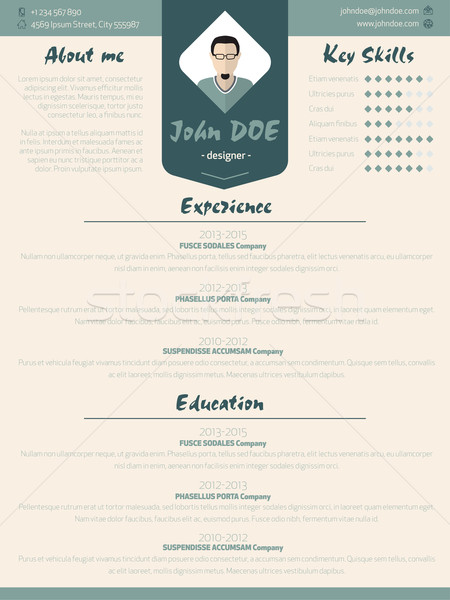 Cool new modern resume curriculum vitae template with design ele Stock photo © vipervxw