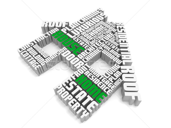 3d group of  green white words shaping a house Stock photo © vipervxw