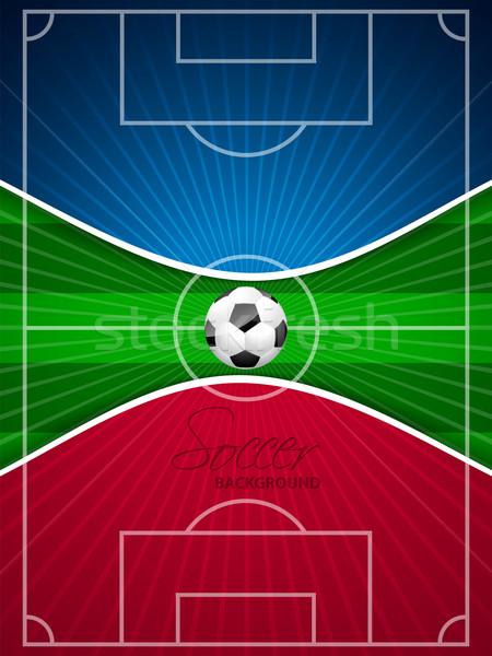 抽象的な 青 赤 サッカー パンフレット テンプレート ストックフォト © vipervxw