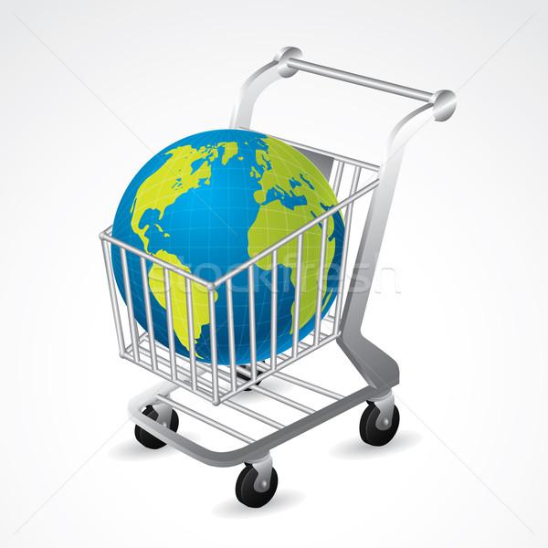 Shopping cart carrying the globe Stock photo © vipervxw
