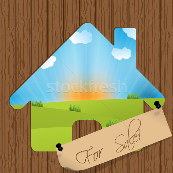 For sale sign with house cutout Stock photo © vipervxw