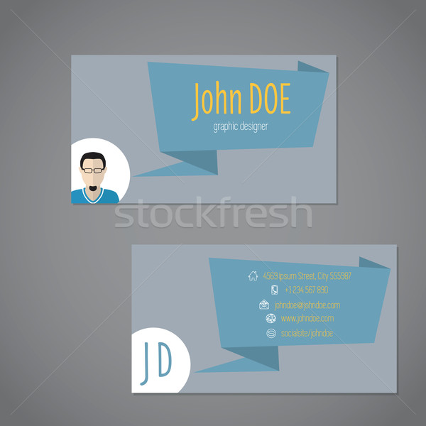 Business Card With Origami Speech Bubble Vector Illustration