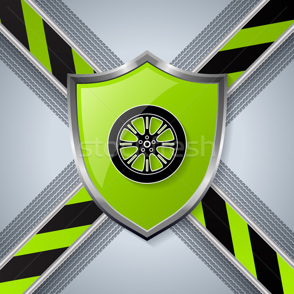 Tire and wheel background with shield Stock photo © vipervxw