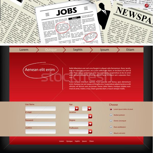 Website template design with newspaper header Stock photo © vipervxw