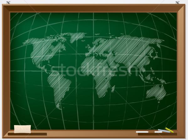 Stockfoto: Wereldkaart · hand · kaart · licht · kamer