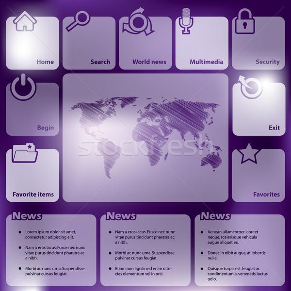 Résumé conception de site web boutons nouvelle carte monde Photo stock © vipervxw