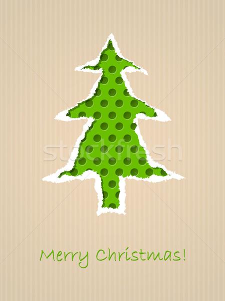 Ripped paper christmas card with dotted green tree Stock photo © vipervxw