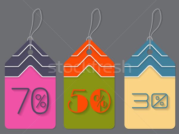 Színes árengedmény címkék címke szett három Stock fotó © vipervxw