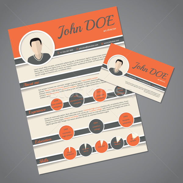 Resume cv template with business card Stock photo © vipervxw