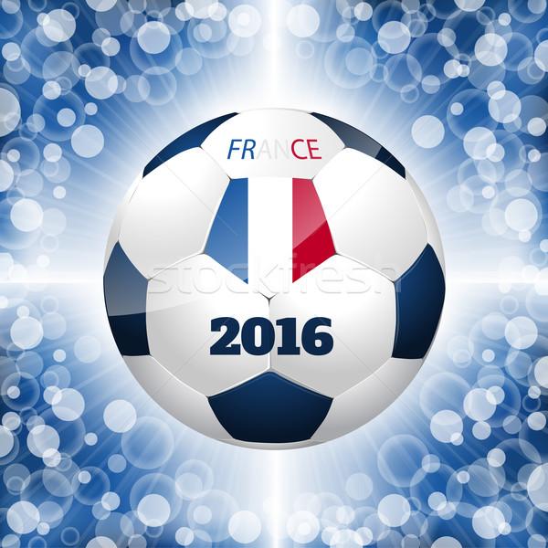 футбольным мячом плакат синий французский флаг дизайна Сток-фото © vipervxw