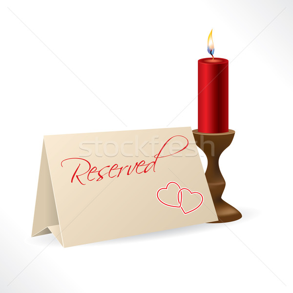 Reserved note with hearts and candle Stock photo © vipervxw