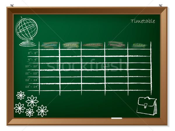 Timetable hand drawn on chalkboard Stock photo © vipervxw